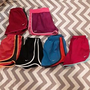 Women's 6 pair of Nike & Under Armour Gym Shorts ,